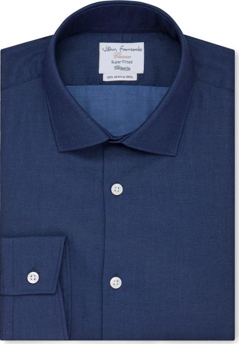 T.M.Lewin Mens Bengal Stripe Super Fitted Navy Single Cuff Shirt
