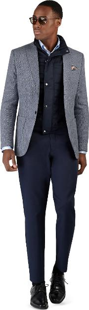 Witley Jacket In Blue Semi Plain Cotton And Linen