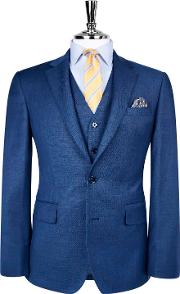 Yellowwood Blue Textured Weave Slim Fit Suit Jacket