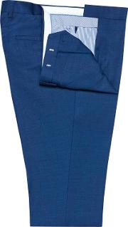 Yellowwood Blue Textured Weave Slim Fit Suit Trousers