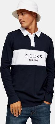 Guess  And White Panel Long Sleeve Polo