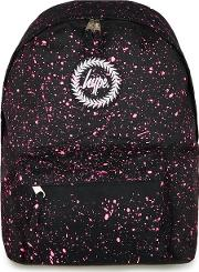 Black  Pink Paint Speckle Print Backpack