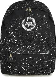 Black  White Paint Speckle Print Backpack