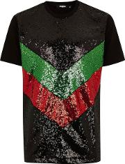 Black, Green And Red Sequin T Shirt