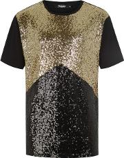 Jaded Black And Gold Sequin T Shirt