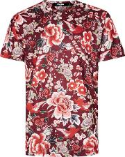 Multi Jaded Red Floral Print T Shirt