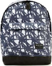 Nicce Blue And White Palm Tree Print Backpack