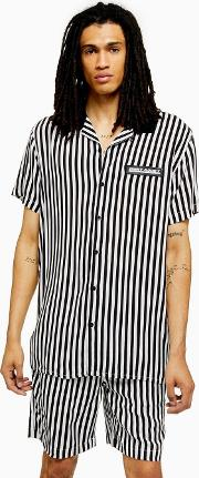 And White Stripe Short Sleeve Shirt