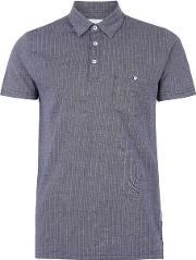 Blue  Navy And White Textured Polo