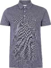 Navy And White Textured Polo