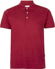 Red Textured Stripe Polo