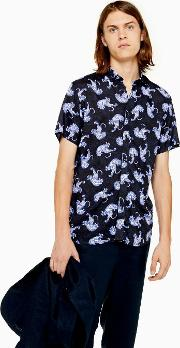 Blue Tiger Print Shirt