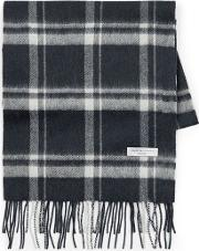 Mens Selected Homme Blue Check 'tope' Wool Scarf