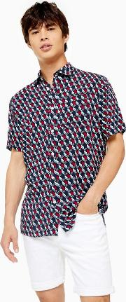 Navy Argyle Geometric Shirt