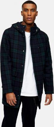 Recycled Wool Blend Check Parka
