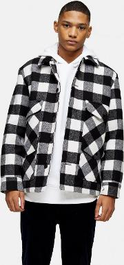 And White Check Coat With Wool