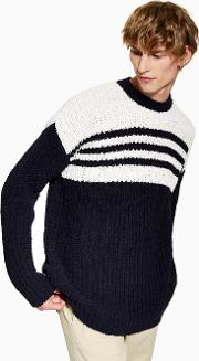 And White Stripe Chenille Jumper
