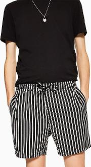 And White Stripe Pull On Shorts