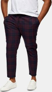 Big & Tall Burgundy And Navy Check Stretch Skinny Trousers