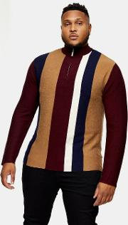 Big & Tall Burgundy And Toffee Stripe Zip Turtle Neck Jumper
