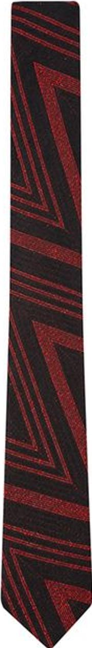 Black And Red Jacquard Tie