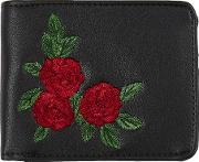 Black Rose Embroidered Bifold Wallet