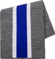 Blue Striped Cable Knitted Scarf