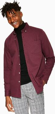 Burgundy Twill Slim Shirt