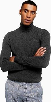Charcoal  Marl Roll Neck Knitted Jumper