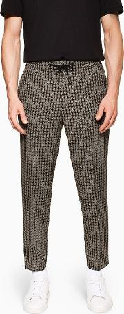 Check Relaxed Cropped Trousers