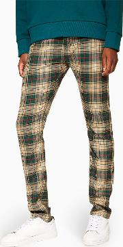 Green, Red And Stone Check Trousers