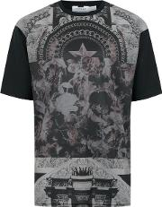 Mens Black Star Print Mesh T Shirt