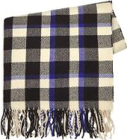 Mens Multi Black And White Check With Blue Blanket Scarf
