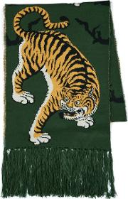 Mens Multi Green Tiger Jacquard Scarf