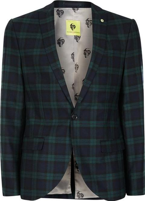 82ea3652a Mens Noose & Monkey Green And Navy Check Suit Jacket