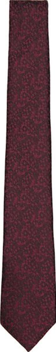 Mens Red Burgundy Abstract Print Tie