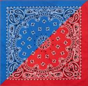 Multi Red And Blue Half And Half Paisley Bandana