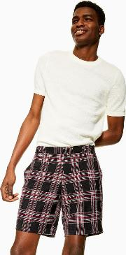 Red Check Smart Shorts