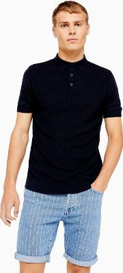 Short Sleeve Button Knitted Polo