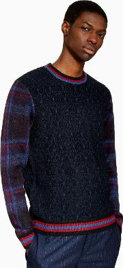 Tartan Sleeve Knitted Jumper