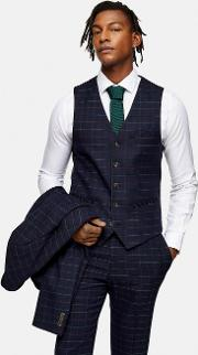 Windowpane Check Skinny Fit Single Breasted Suit Waistcoat