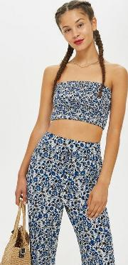 Printed Shirred Bandeau Top