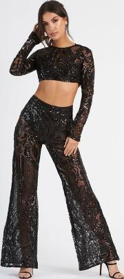 Baroque Geometric Sequin Trousers