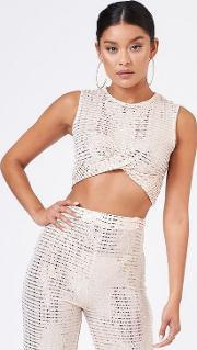 Cream Mirror Sequin Crop Top