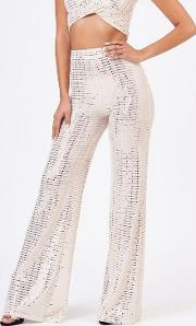 Cream Mirror Sequin Wide Trousers