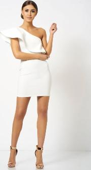 One Shoulder Frill Detailed Mini Bodycon Dress