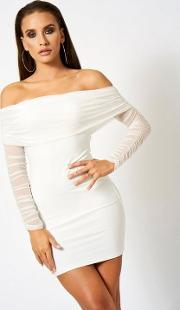 Ruched Mesh Bardot Mini Dress