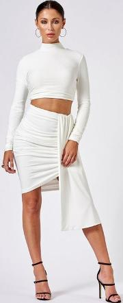 White Ruched Layered Mini Skirt