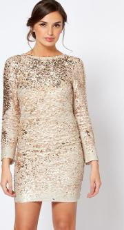 Womens Rose Gold Sequin Mini Bodycon Dress By