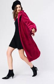 Burgundy Faux Fur Overcoat